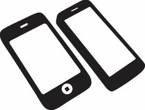 モノクロの2台のスマートフォン