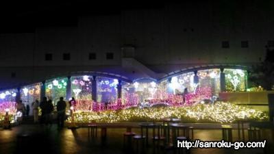 夜になると楽しめる杉乃井ホテルのイルミネーションの風景