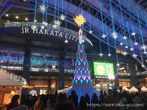 博多駅のイルミネーションツリー